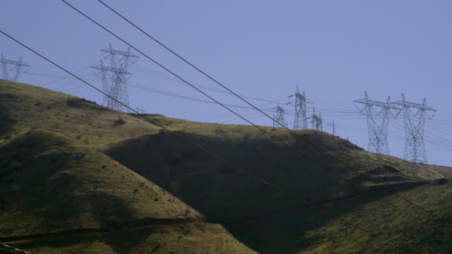 ms hills with electricity pylons, palmdale, california, usa - palmdale stock videos and b-roll footage