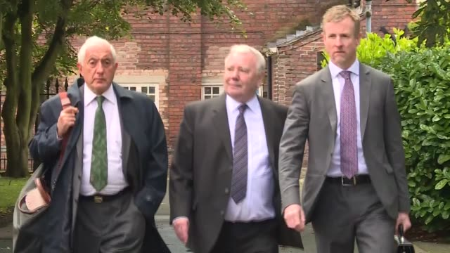 court arrivals ENGLAND Cheshire Warrington EXT Families of Hillsborough victims towards as arriving at court / lawyers and others along / Peter...