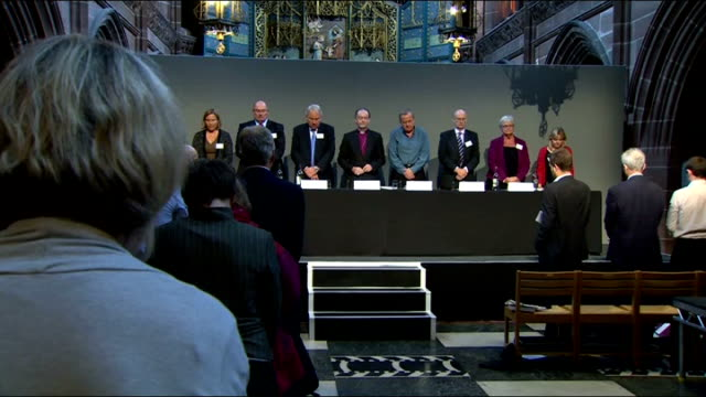 hillsborough disaster: hillsborough report panel press conference; england: merseyside: liverpool: anglican cathedral: int members of hillsborough... - ピーター・シソンズ点の映像素材/bロール