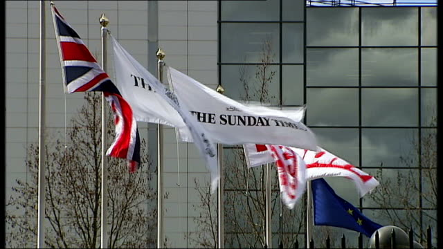 independent panel report kelvin mackenzie refuses requests to be interviewed r26031004 / england london wapping ext general views flags flying... - hillsborough disaster stock videos and b-roll footage
