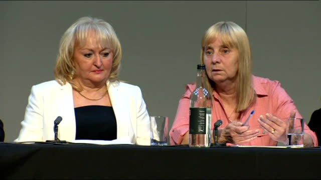 hillsborough disaster: independent report reveals police cover up; liverpool: families of hillsborough victims at press conference margaret aspinall... - report produced segment stock videos & royalty-free footage