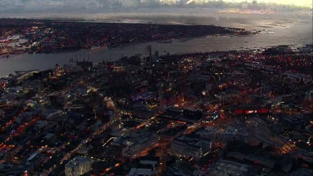 ENVIRONMENT / Hillsborough disaster inquest Aerials of Liverpool NIGHT **As Incoming** Liverpool cityscape including following landmarks St George's...