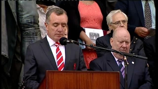 Liverpool vigil Kenny Dalglish Ian Ayres Jamie Carragher Graeme Sharp read list of names of Hillsborough victims SOT / Rt Rev Thomas Williams and...