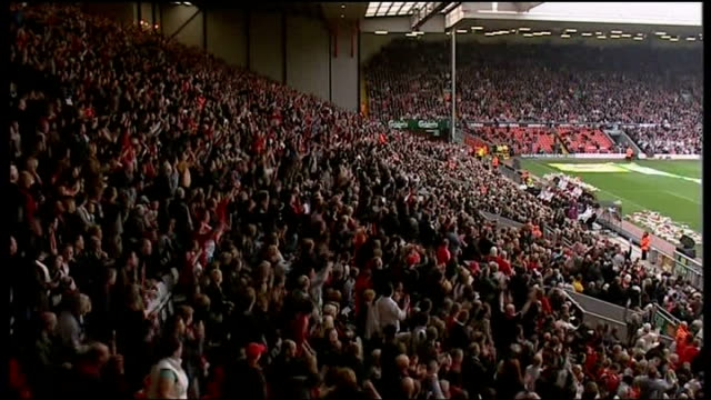 preview of release of new report into the disaster lib liverpool anfield liverpool fans chanting at memorial service sot andy burnham mp at podium... - sprechgesang stock-videos und b-roll-filmmaterial