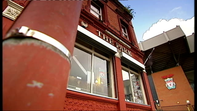 survivor's story england liverpool anfield ext low angle view 'the park' pub liverpool football club logo reflecteed in window - hillsborough disaster stock videos and b-roll footage