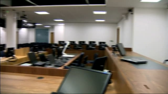thirteen police officers identified as suspects cheshire warrington int general view of interior of empty courtroom - court room stock videos and b-roll footage