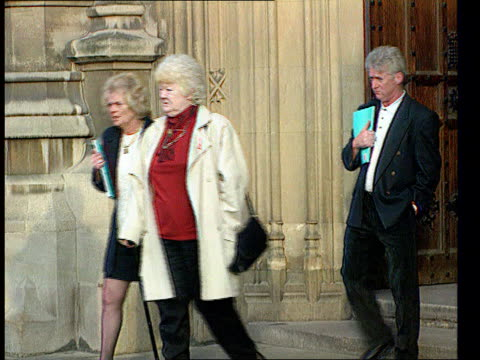 hillsborough football disaster:; a)nat: itn england: london: westminster: ext relatives of hillsborough victims outside parliament relatives of... - mp stock-videos und b-roll-filmmaterial
