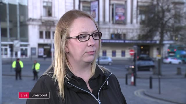 demands for justice for victims / south yorkshire police chief constable suspended england merseyside liverpool ext reporter to camera charlotte... - ジャッキー ロング点の映像素材/bロール