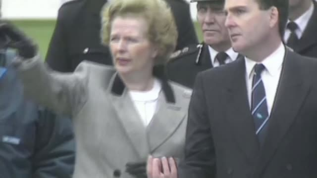 hillsborough inquest aftermath: role of the liverpool echo; 16.4.1989 sheffield: hillsborough stadium: ext margaret thatcher mp along pitch with... - hillsborough stadium stock videos & royalty-free footage