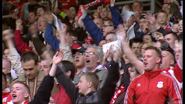 stockvideo's en b-roll-footage met pressure grows on government to release secret papers tx liverpool anfield ext various views of liverpool fans in stands chanting 'justice for the... - liverpool engeland