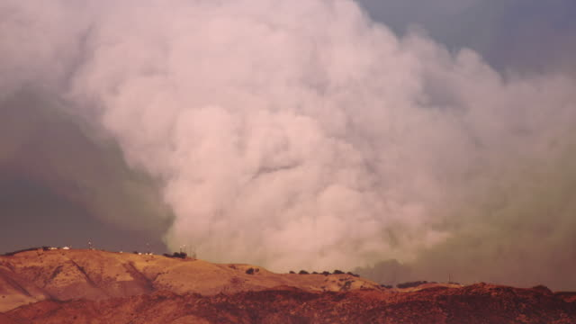 t/l ms hillside with smoke from guiberson fire, moorpark, california, usa - ventura stock videos and b-roll footage