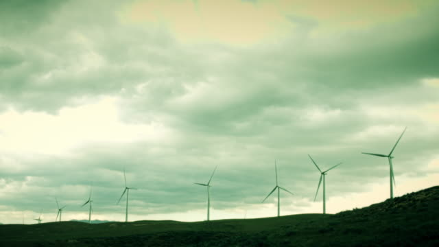 hilltop wind turbines - sepia stock videos & royalty-free footage