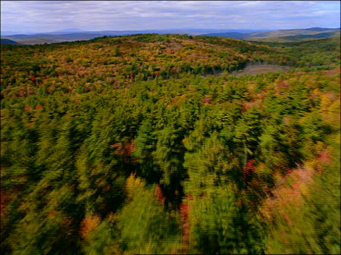 AERIAL hilly forest + river in Autumn / New England