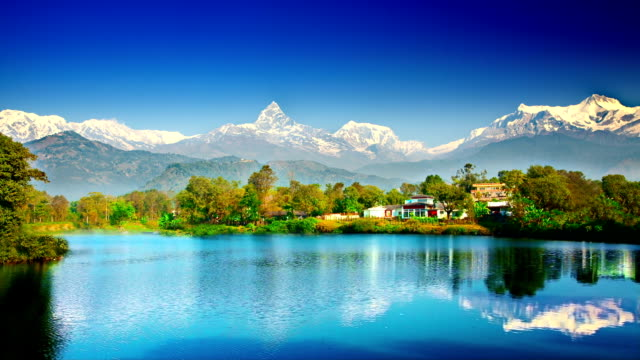 himalaya mountains and lake - nepal stock videos & royalty-free footage