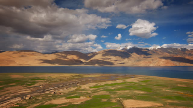 Himalayan mountains with grassy plateau and placid lake on a sunny day