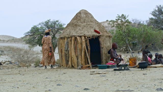 himba family outside desert hut, namibia, africa. real time. shot in 8k resolution. - 30 seconds or greater stock videos & royalty-free footage