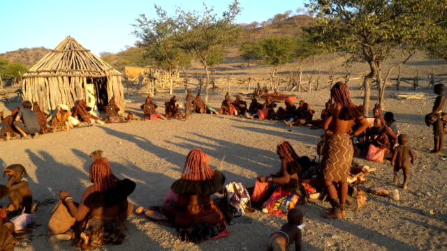 himba tribe- daily life in the village, namibia - indigenes volk stock-videos und b-roll-filmmaterial