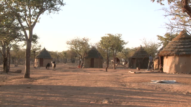 himba tribe village scene, namibia - namibia stock videos & royalty-free footage