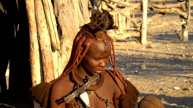 CU Himba woman- with traditional hair styling, Namibia
