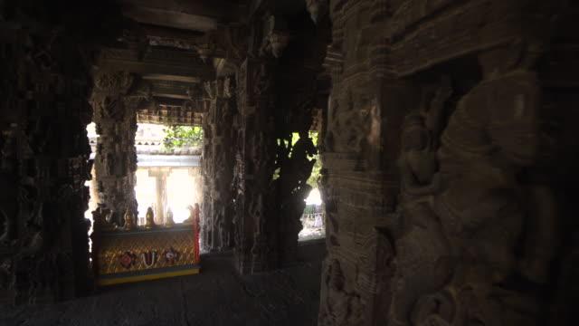 hindu ancient temple varadaraja steadicam shot - sculpture stock videos and b-roll footage