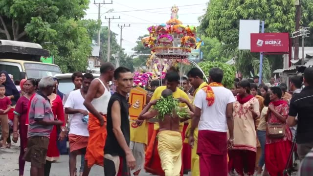 Hindu devotees celebrate the Thaipusam festival with religious rituals at the Palani Andawer temple in Banda Aceh on April 08 2018 Interview with...