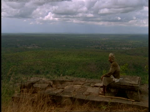 wa hindu priest sitting at hindu shrine looking out to jungle, bandhavgarh national park, india - national icon stock videos & royalty-free footage