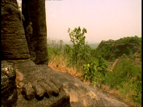 cu hindu statue, jungle in background, bandhavgarh national park, india - national icon stock videos and b-roll footage