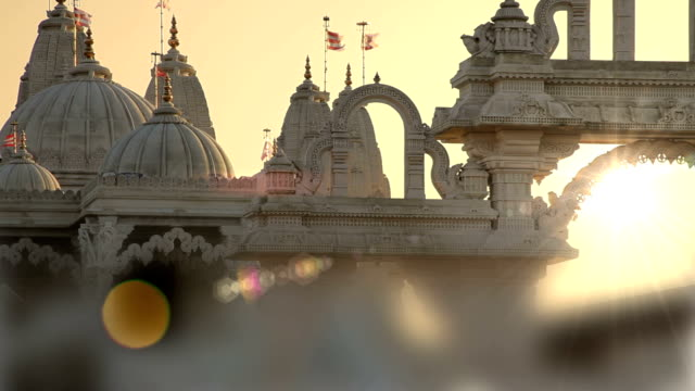 Hindu temple at sunset