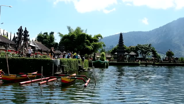 hindu temple on bratan lake pura ulun danu bratan. bali. indonesia. - pura ulu danau temple stock videos & royalty-free footage