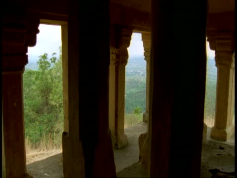 hindu temple pillars, zoom in to jungle in background, bandhavgarh national park, india - bandhavgarh national park stock videos and b-roll footage