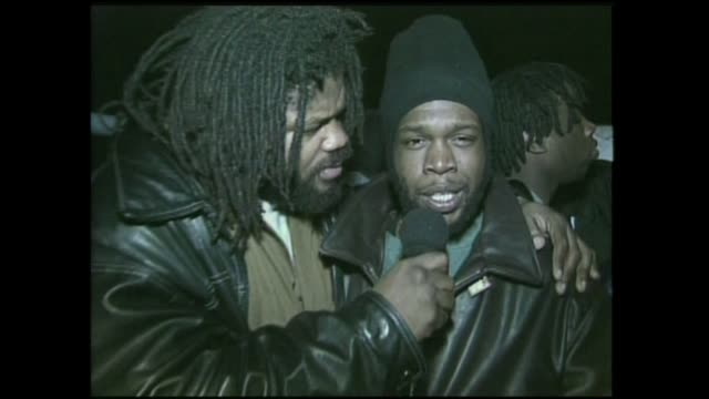 hip hop artist jeru da damaja interview with video music box's crazy sam at the movie soundtrack new jersey drive release party 1995 - soundtrack stock videos & royalty-free footage