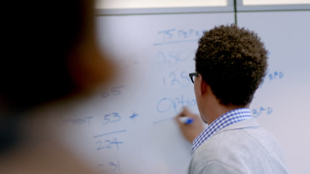 hip young businessman writes on white-board, instructs office conference-room - whiteboard stock videos and b-roll footage