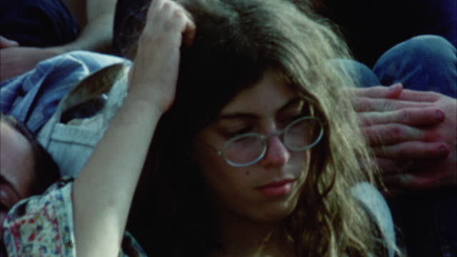 montage hippie audience at woodstock festival / bethel, new york, usa - warner bros stock videos and b-roll footage
