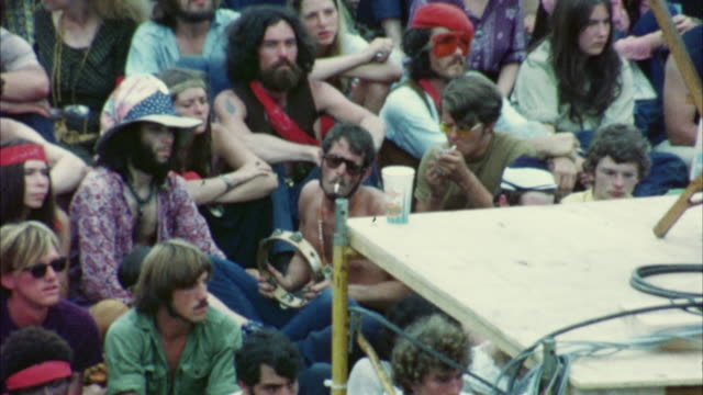 MONTAGE Hippie audience at Woodstock Festival / Bethel, New York, USA