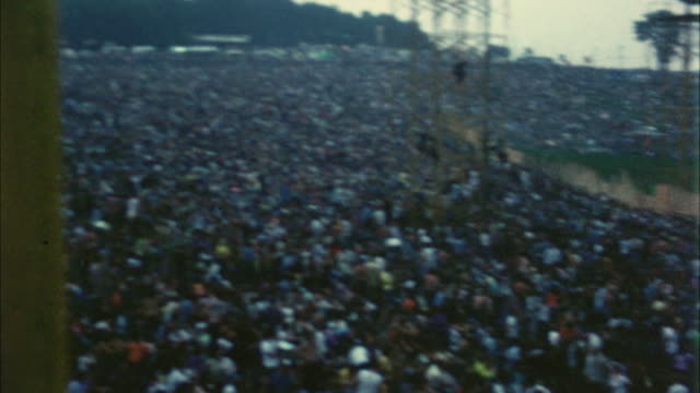 ws ha pan hippie audience at woodstock festival / bethel, new york, usa - 1969 stock videos & royalty-free footage