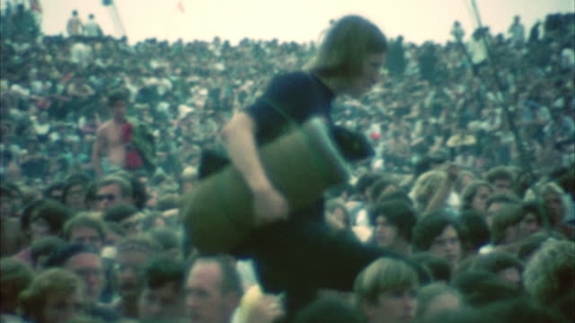 montage hippie audience at woodstock festival / bethel, new york, usa - 1969 stock videos & royalty-free footage