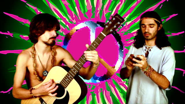 hippies and peace sign background - hippie stock videos & royalty-free footage