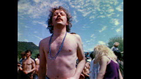 stockvideo's en b-roll-footage met / hippies dancing at tapia park love-in / band plays on stage / guitar player. hippies dancing at tapia park love-in on april 14, 1968 in calabasas,... - hippie