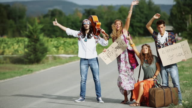 hippies: old fashioned group of friends - hippie stock videos & royalty-free footage