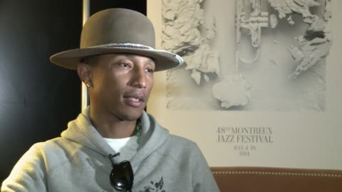 hippop and r&b star pharrell williams whose mega hit happy has already got the planet dancing speaks to afp shortly before taking the stage as the... - montreux jazz festival stock videos & royalty-free footage