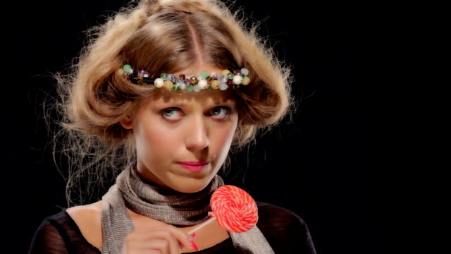 hippy girl with lollypop - lollipop stock videos & royalty-free footage