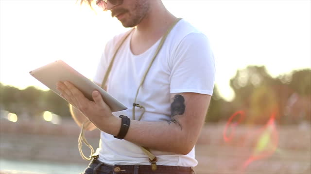 hipster and tablet - facial hair stock videos & royalty-free footage