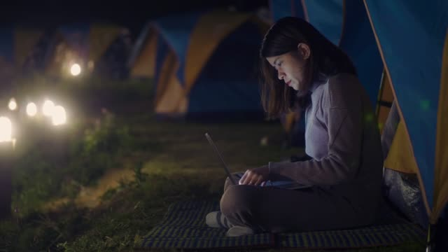 hipster asian female camping an use laptop the nature - wilderness stock videos & royalty-free footage