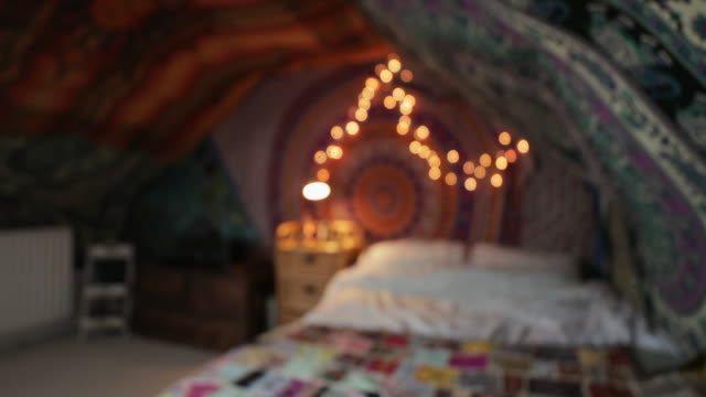hipster bedroom - open house stock videos & royalty-free footage