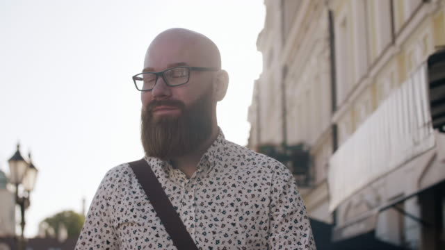 hipster businessman after work/ rzeszow/ poland - hair loss stock videos & royalty-free footage