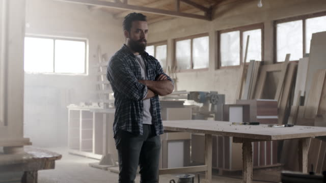 Hipster carpenter prepared for hard day at office!