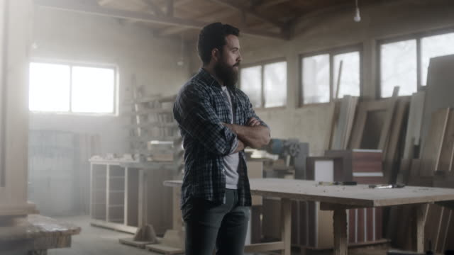 hipster carpenter prepared for hard day at office! - carpenter stock videos & royalty-free footage