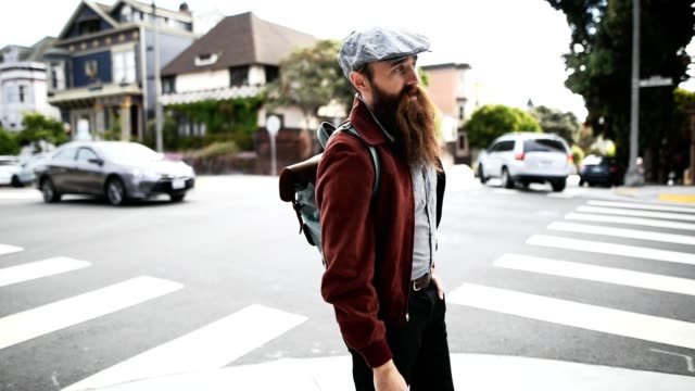 hipster crossing the street in san francisco - grace stock videos & royalty-free footage