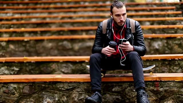 Hipster enjoing music