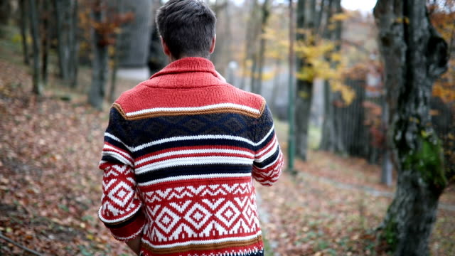 hipster enjoys autumn - pullover stock videos & royalty-free footage